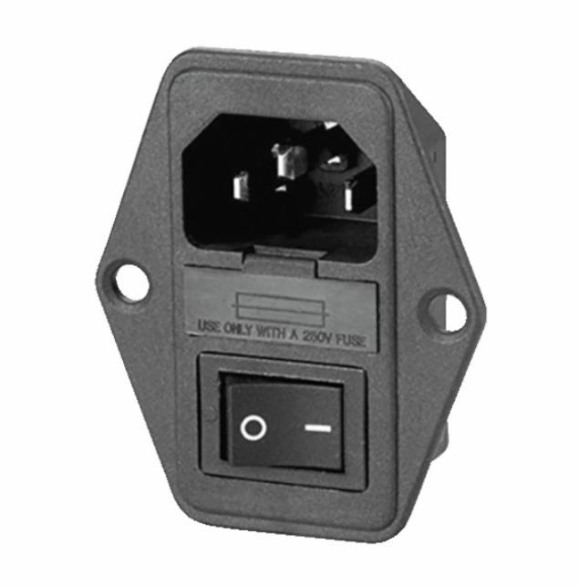 Prise VDE + interrupteur + porte-fusible 0/1 ovale